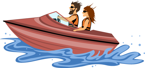 illustration of couple smiling as they ride along the water in a speedboat